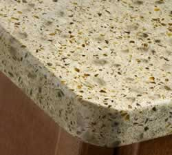 speckled quartz countertop corner