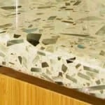 Light colored recycled glass countertop