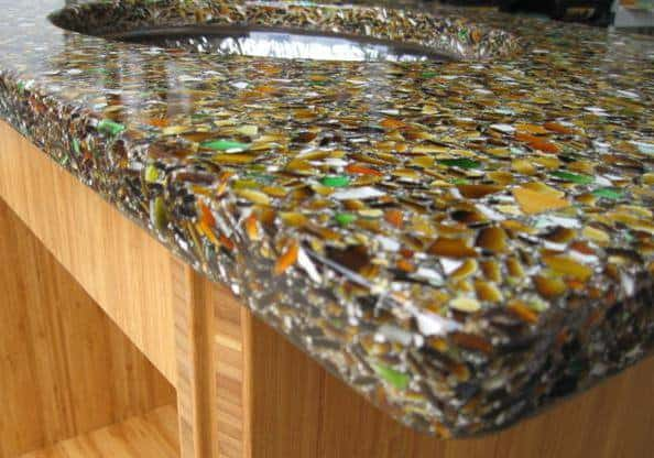Recycled Glass Countertops Bathroom Recycled glass in resin