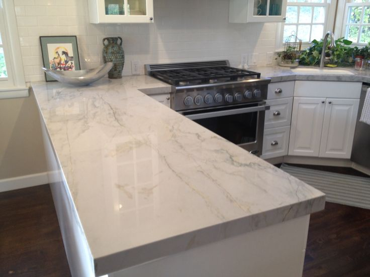 White Frozen Marble Kitchen Countertop